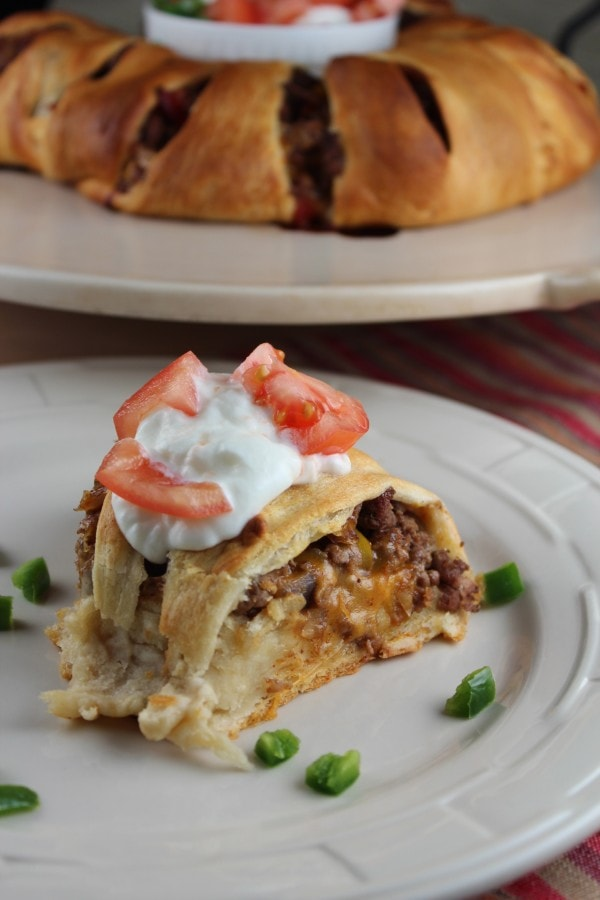 Crescent Roll Taco Ring with Sour Cream