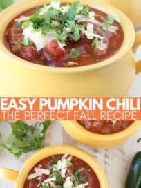 pumpkin chili in yellow bowls topped with shredded cheese and cilantro