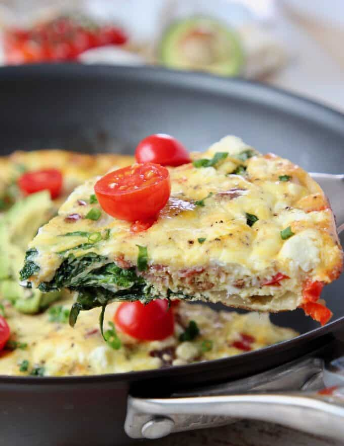 Slice of frittata on spatula