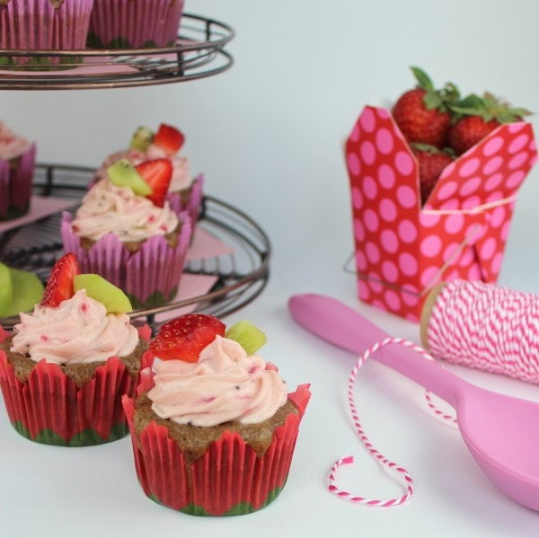 Strawberry Kiwi Cupcakes with Creamy Strawberry Frosting
