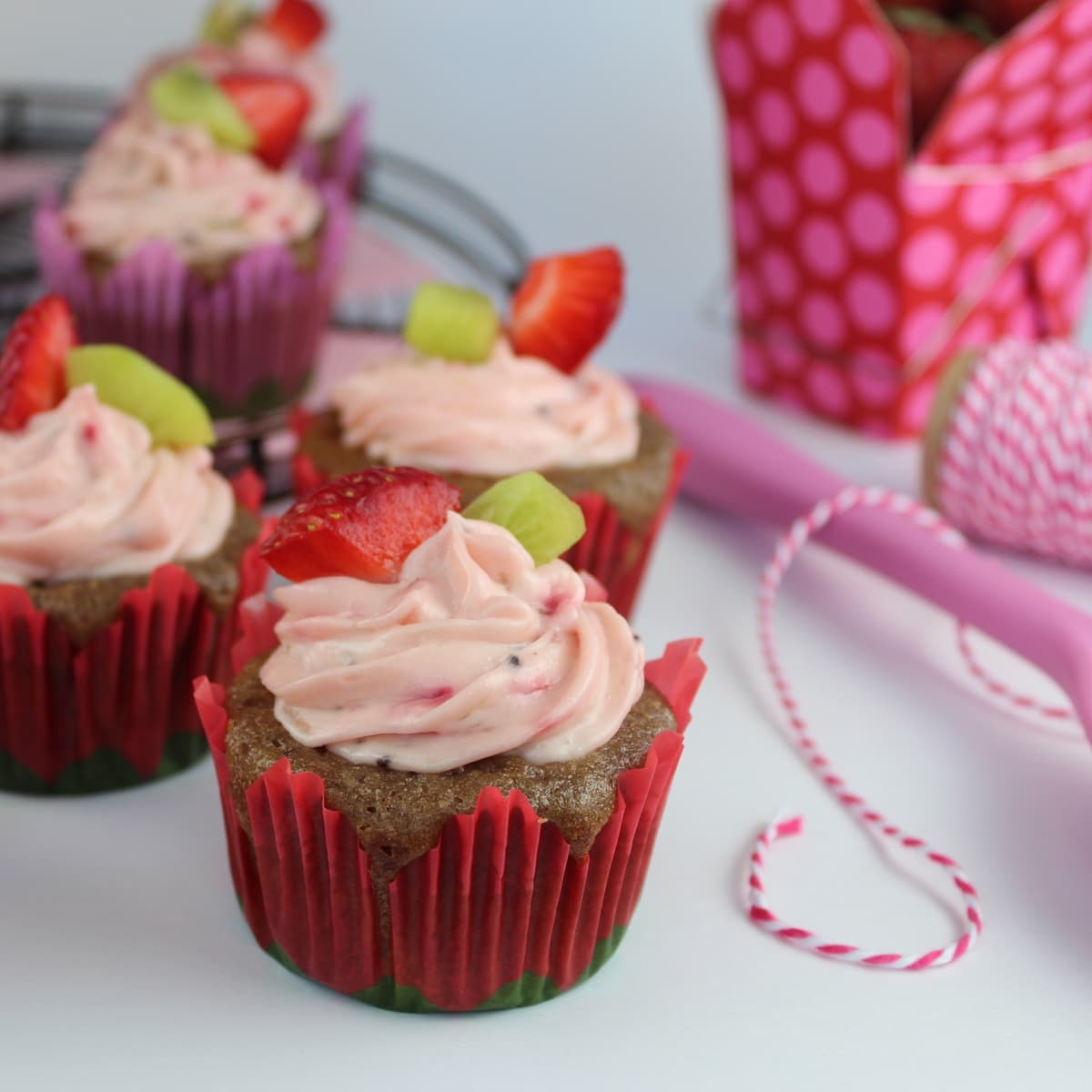 Strawberry Kiwi Cupcakes with Strawberry Kiwi Creamy Frosting