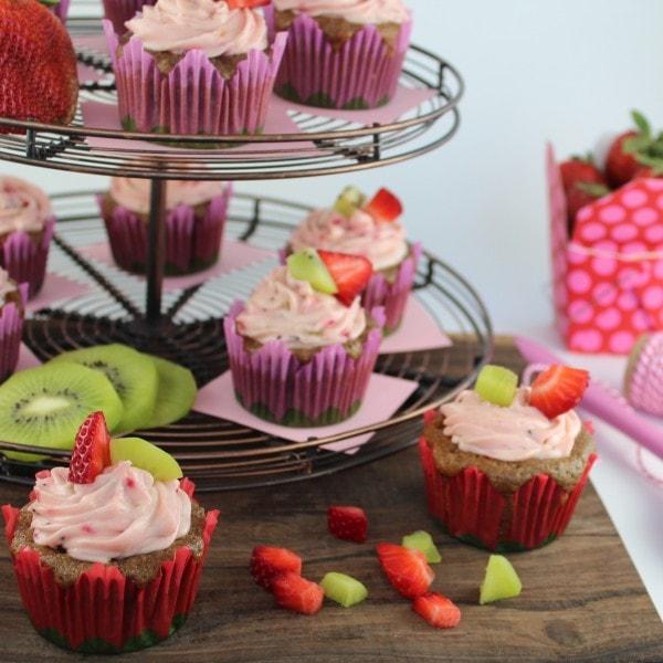 Fresh Fruit Strawberry and Kiwi Cupcakes