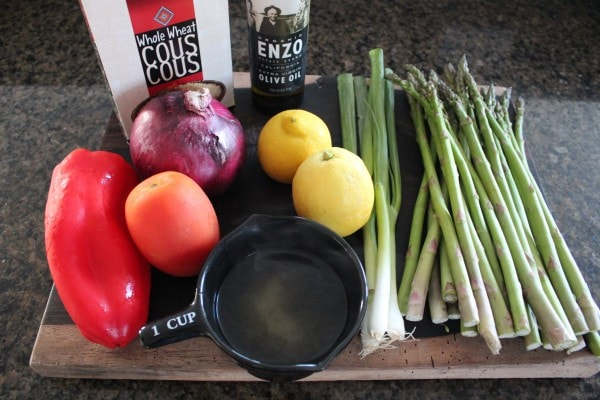 Coucous Asparagus Tabouli Ingredients