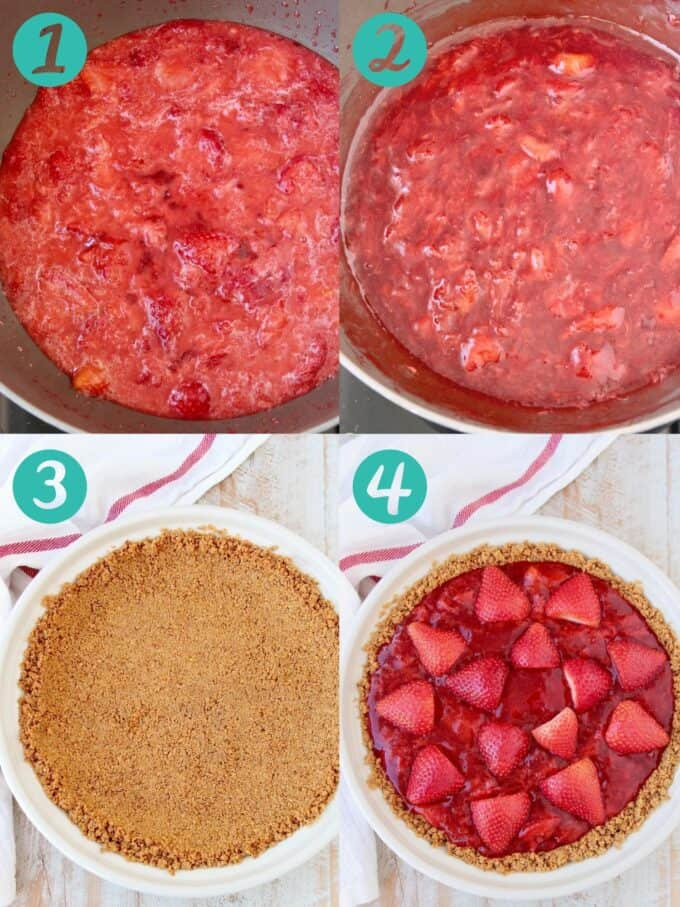 Instructional images showing how to make a strawberry pie with graham cracker crust