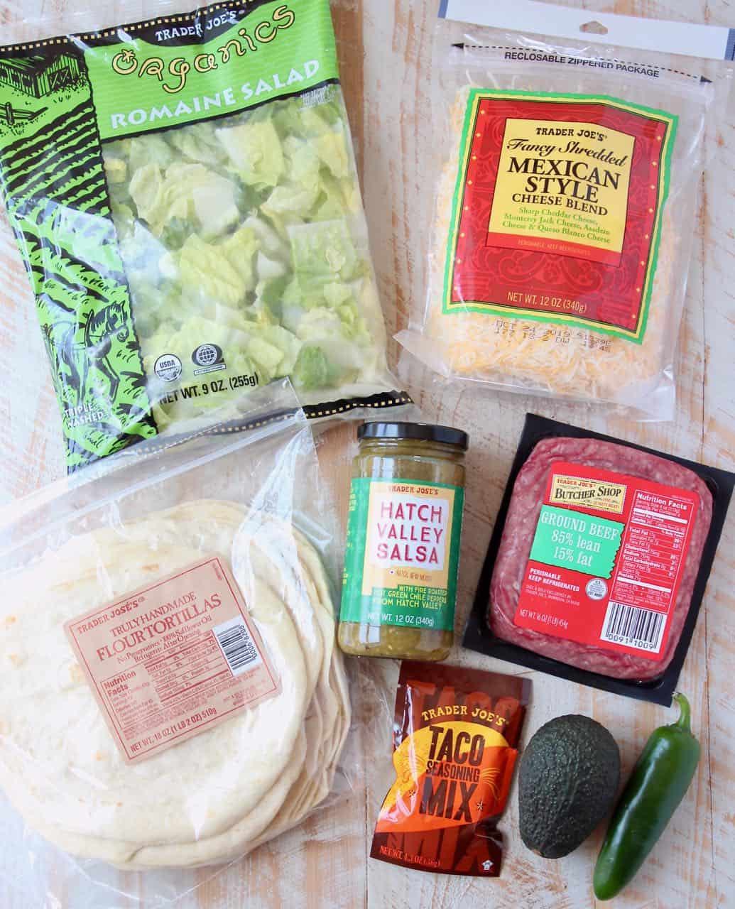 Ingredients for Trader Joe's Tacos