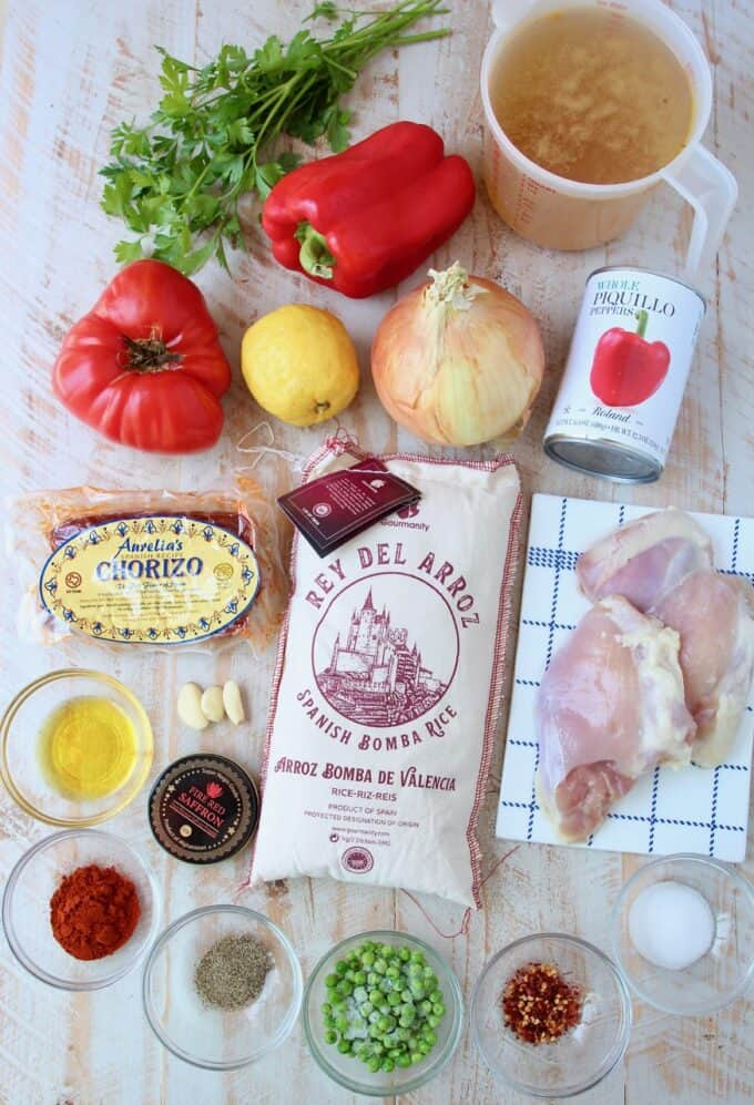 overhead image of ingredients for chicken paella