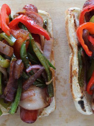 bacon wrapped hot dogs, street dogs, LA hot dogs, la dogs
