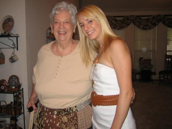 Whitney Bond with her Grandma Meme in 2005