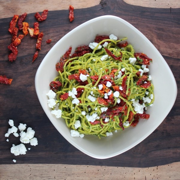 Kale Pesto, Sun Dried Tomato and Goat Cheese Pasta Recipe