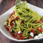 Kale Pesto Spaghetti with Goat Cheese