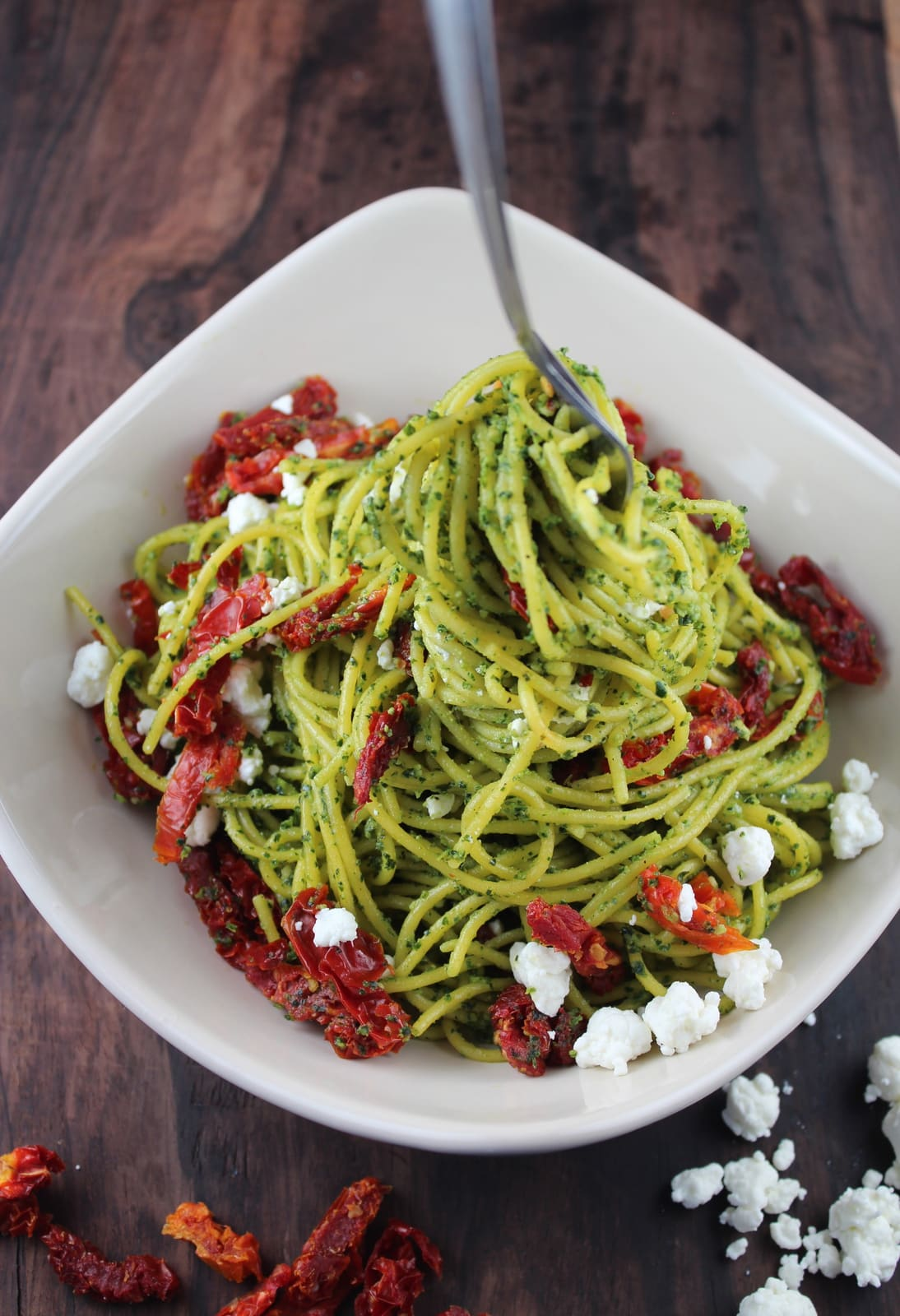 Gluten Free Corn Pasta is tossed with homemade Kale Pesto, Sun Dried ...