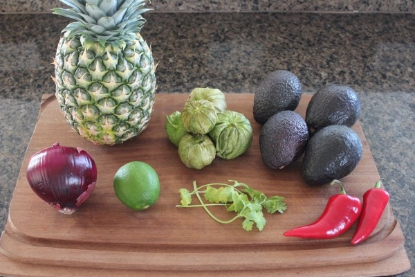 Grilled Pineapple Tomatillo Guacamole Ingredients