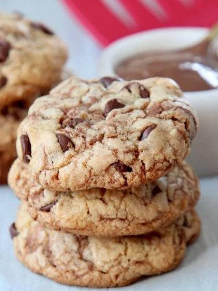 Three stacked nutella chocolate chip cookies