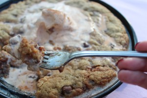 Chocolate Pecan Cookie Pie with Pumpkin Ice Cream