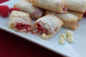 white chocolate, raspberry, phyllo dough, phyllo rolls, dessert, recipe, food, fillo dough, fillo