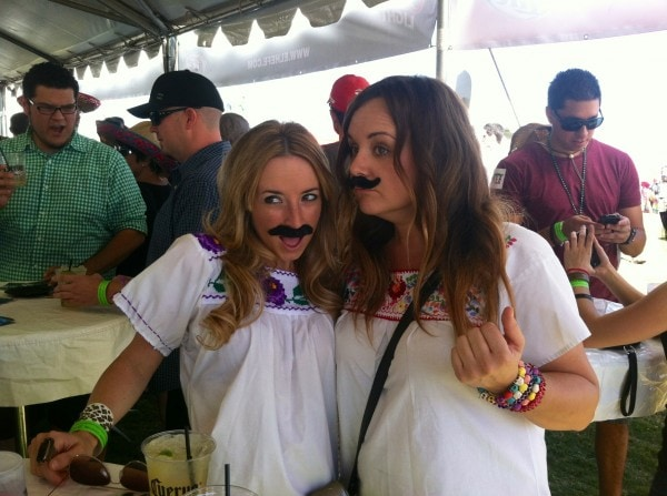 Whitney Bond, fake mustaches, girls with fake mustaches, El Hefe Tent, Arizona Taco Festival