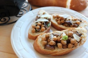 chickpeas, garbanzo beans, baby bella mushrooms, mushrooms, bruschetta, appetizer, italian, parmesan cheese, basil, garlic, olive oil