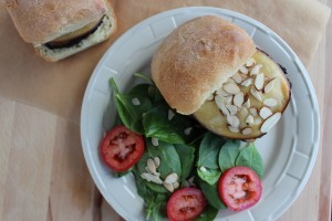 gouda cheeseburger, bond burger, toasted almond burger, mushroom burger, cheeseburger with focaccia bun, spinach salad, recipe, food