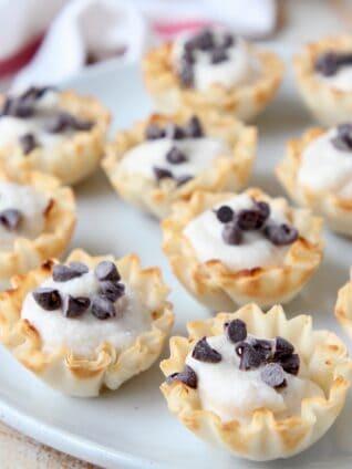 mini cannoli cream cups on plate