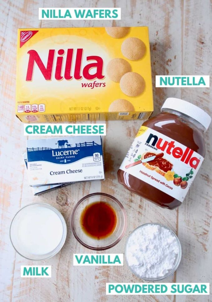 ingredients for nutella cheesecake bites