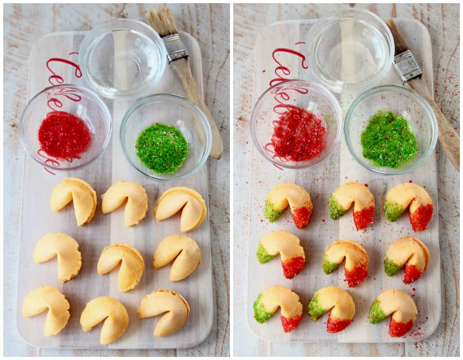 Collage of images showing how to make Christmas glitter fortune cookies