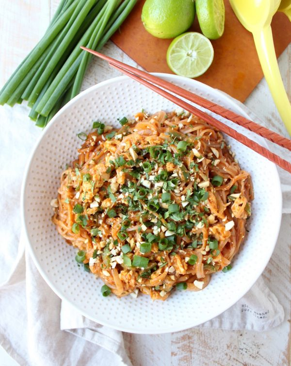 Spicy Vegetable Pad Thai is gluten free, vegetarian & given a spicy kick from the red curry paste, Sriracha & sliced jalapeños! This recipe is totally delicious & made in just 15 minutes!