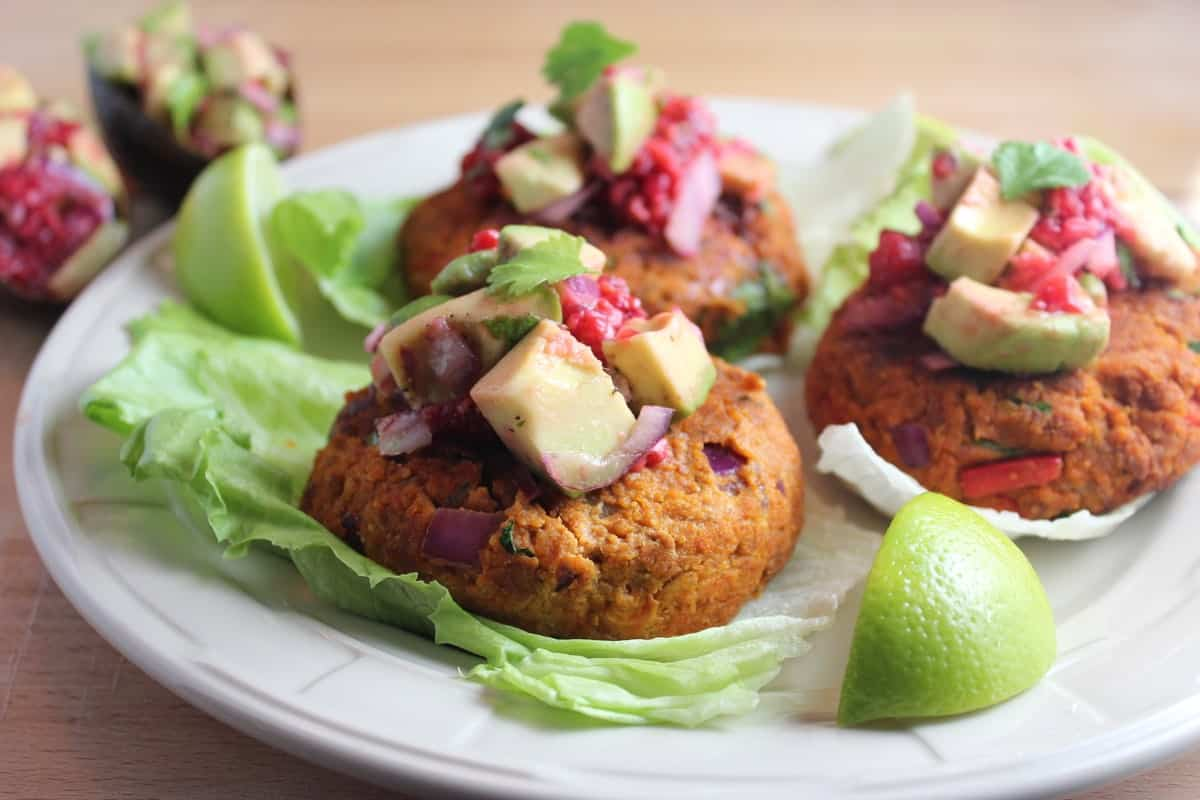 Soy Chorizo Veggie Burgers with Raspberry Avocado Salsa