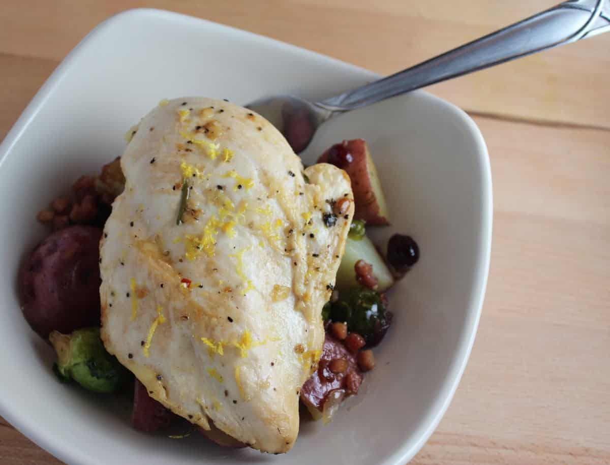 Roasted Chicken with Brussels Sprouts and Potato Hash