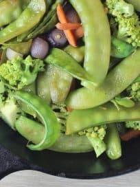 spiky broccoli, broccoflower, Romanesco broccoli, snow peas, spiky cauliflower, pearl onions, carrots, garlic, winter vegetables, chicken broth