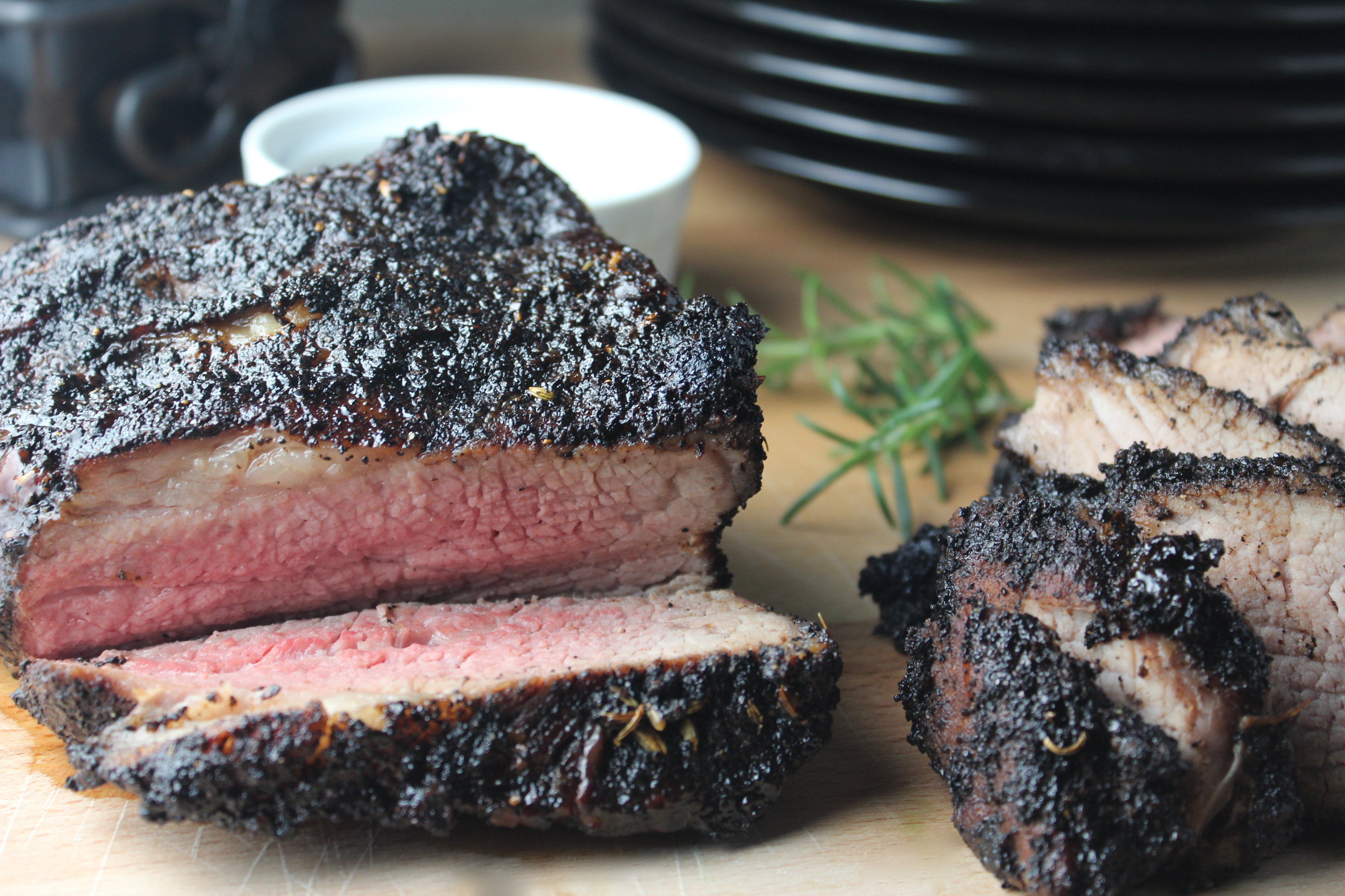 Coffee Crusted Tri Tip with Balsamic Stout Reduction