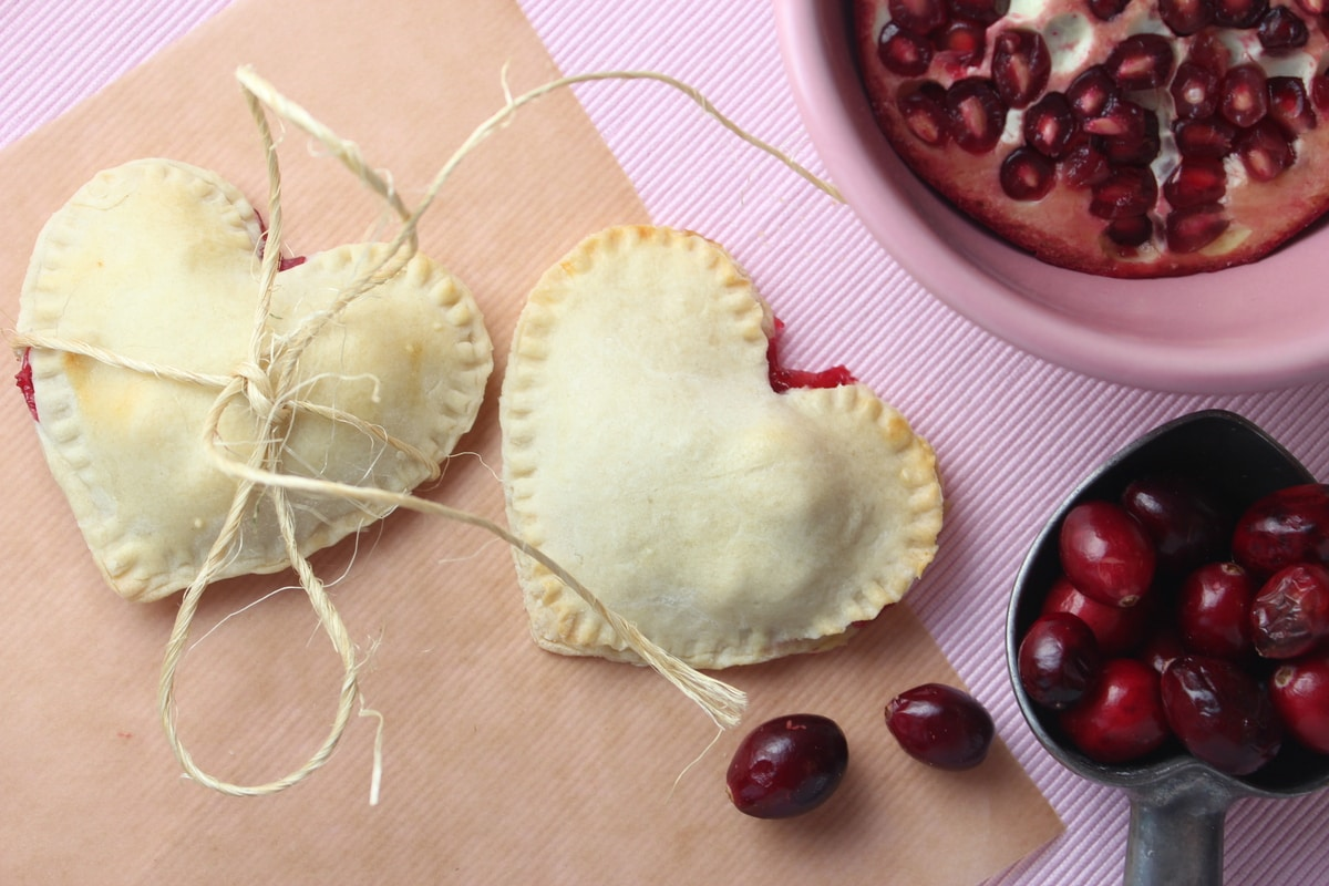 Heart Shaped Cranberry Pomegranate Mini Pies