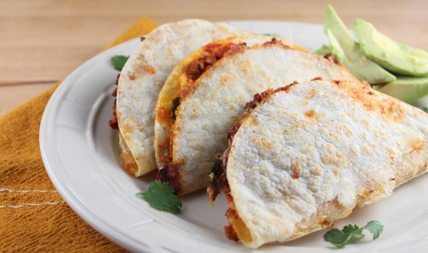 soy chorizo quesadillas, chorizo cheddar quesadillas, vegetarian quesadillas, gluten free quesadillas, soy chorizo cheddar quesadilla, vegetarian soy chorizo quesadillas, recipes, spicy chorizo quesadilla