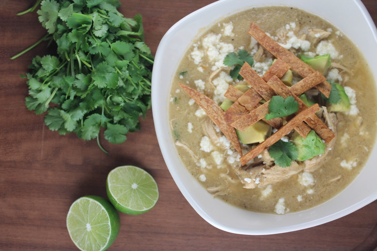 Green Chili Chicken Enchilada Soup - Little Leopard Book