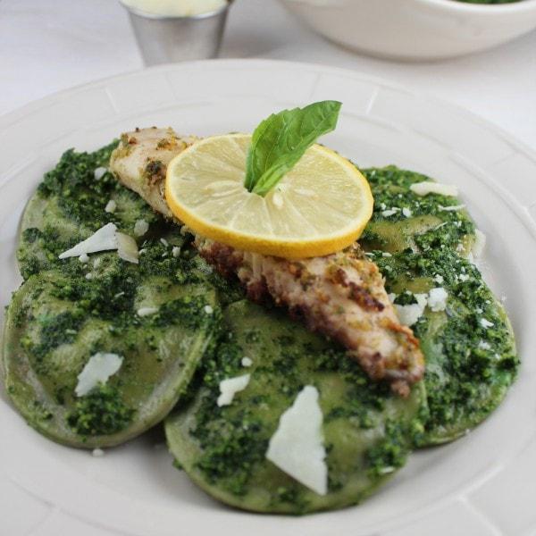 Pistachio Basil Tilapia with Kale Pesto Ravioli