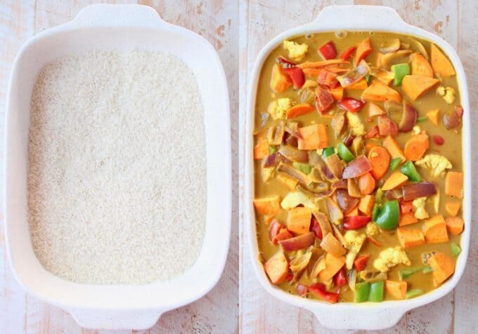 collage of images showing how to make rice and vegetable curry casserole