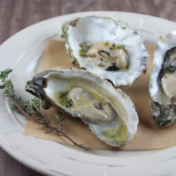 Grilled Oysters with Jalapeño Thyme Sake Reduction