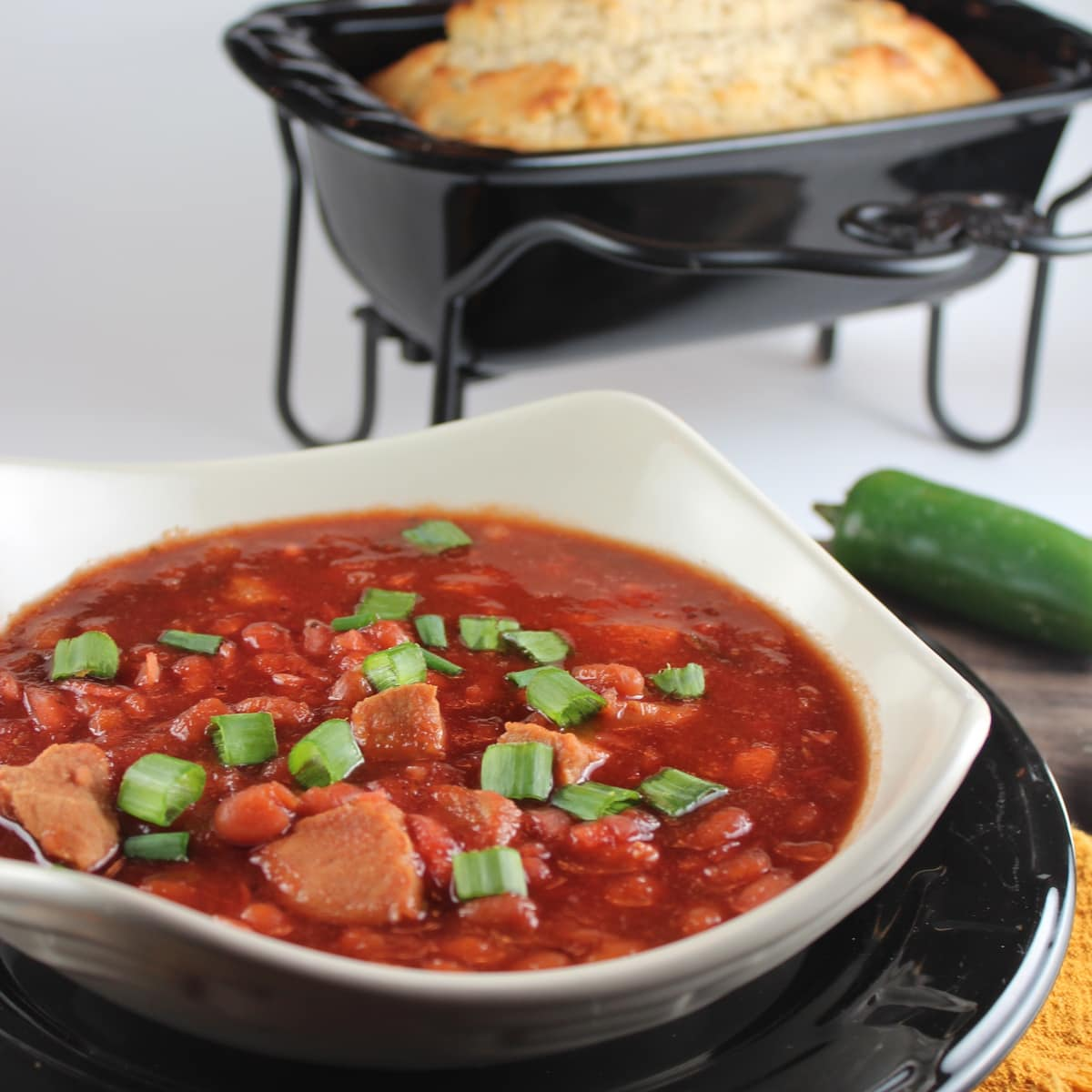 pork chops are added to pork and beans in this sweet and spicy chili ...