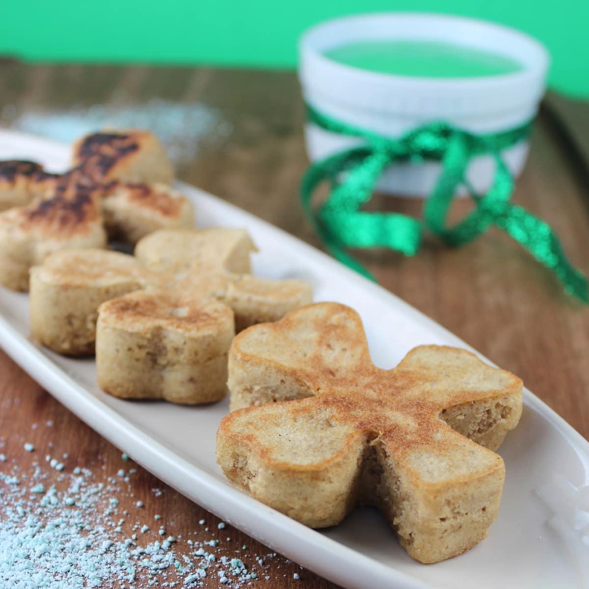 gluten free pancakes, gluten-free, shamrock shaped pancakes, shamrock ...