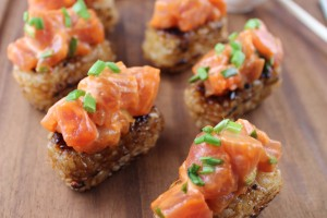 spicy tuna recipe, spicy tuna crispy rice recipe, spicy tuna on crispy rice, japanese spicy tuna crispy rice, spicy tuna crispy rice cakes recipe, recipes, japanese, spicy tuna sushi, katana hannabi recipe, katsuya recipes for crispy rice