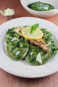 Three Cheese Basil Raviolis with Kale Pesto