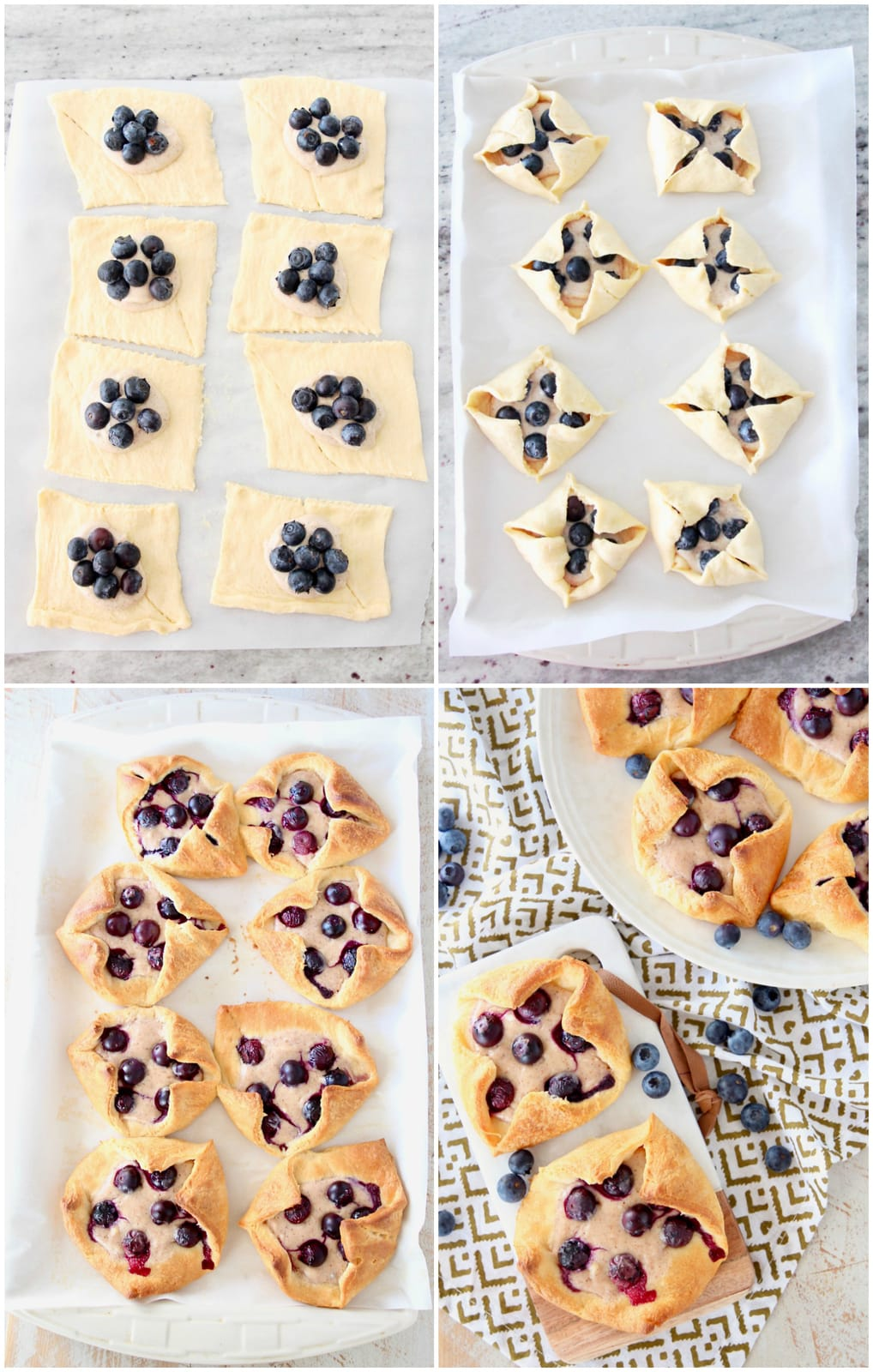 Collage of 4 images showing the making of blueberry pastries