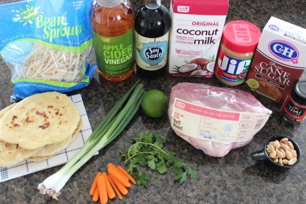 Thai Peanut Pulled Pork Roti Bread Pizza Ingredients