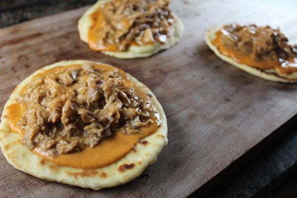 Roti Bread Thai Peanut Sauce Pulled Pork Pizzas
