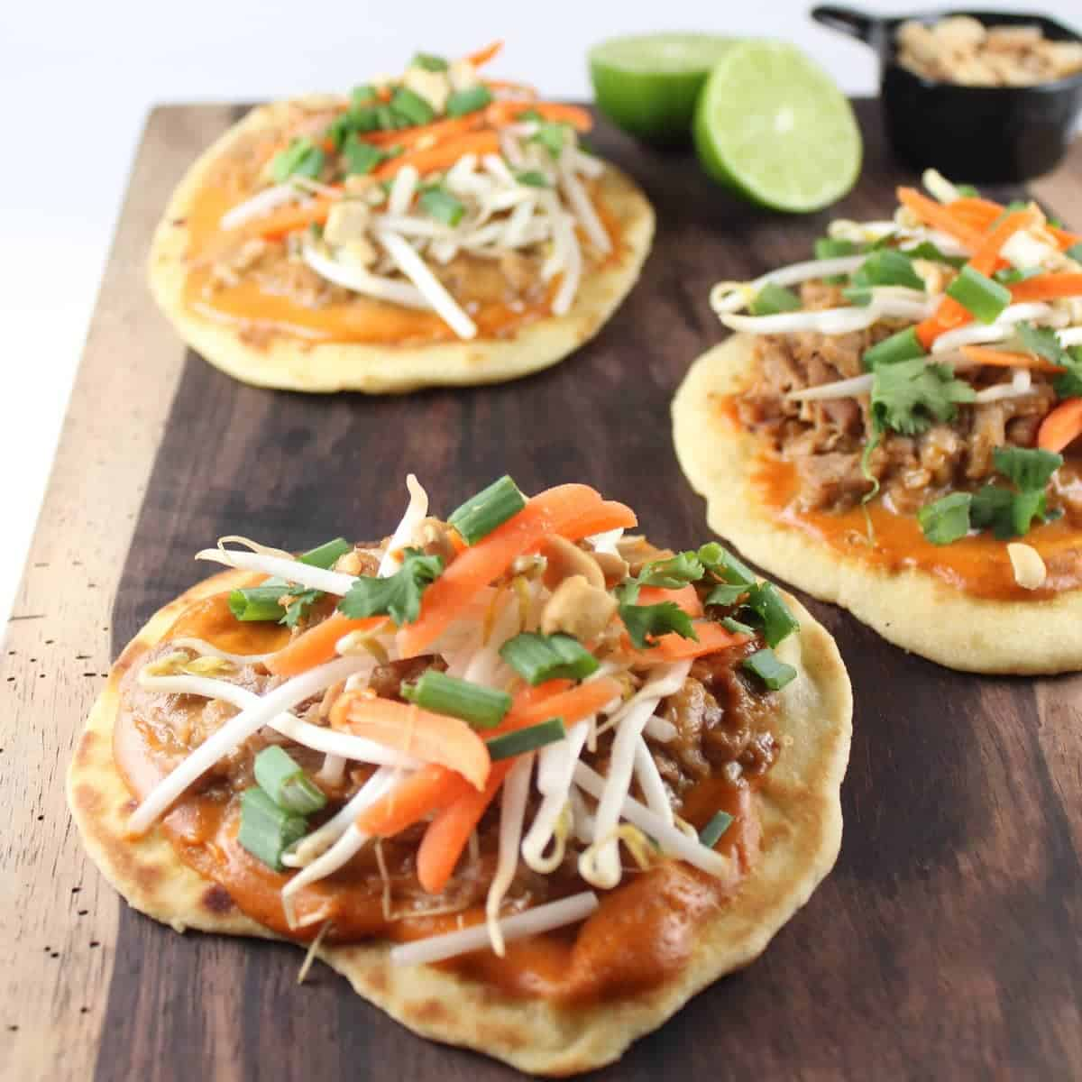 Thai Peanut Pulled Pork Roti Bread Pizzas