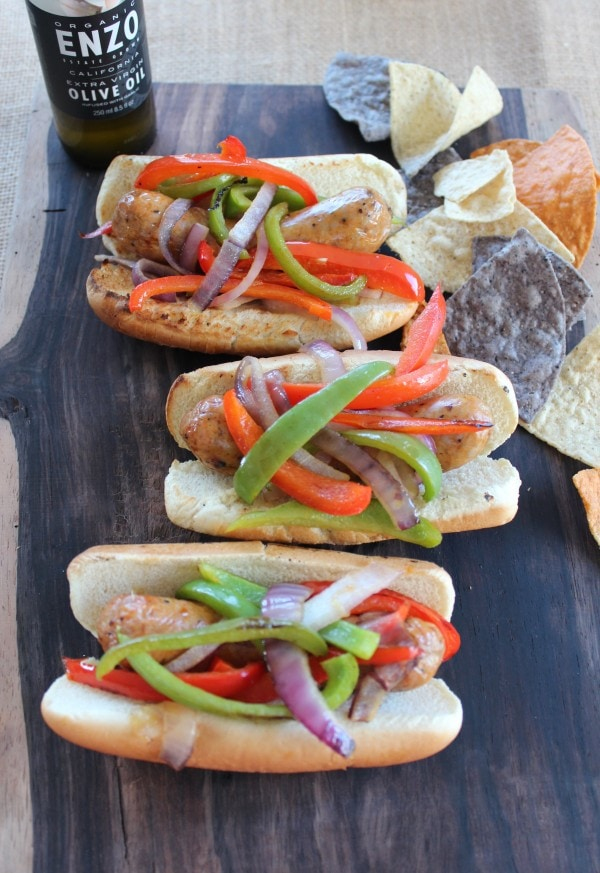 Grilled Sausage and Pepper Dogs