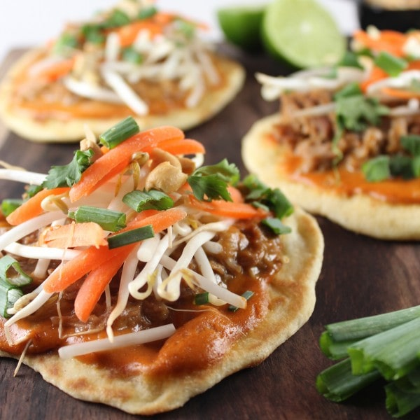 Thai Peanut Sauce Roti Bread Pizzas
