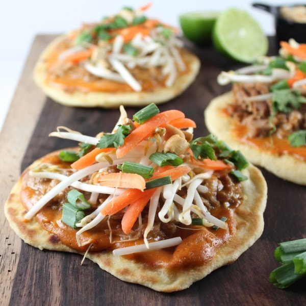 Grilled Roti Bread Pulled Pork Pizzas