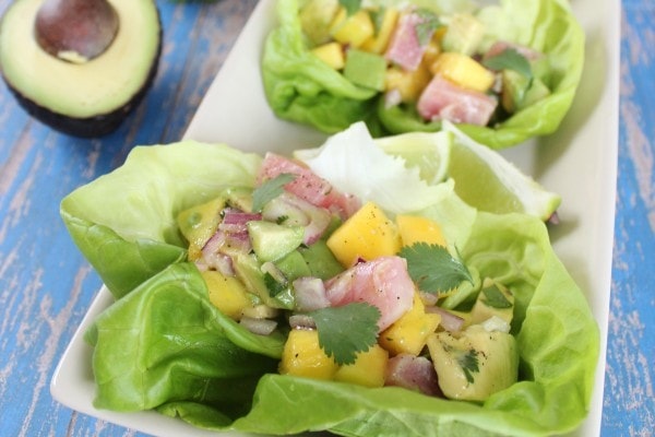Caribbean Mango Avocado Ahi Lettuce Wraps