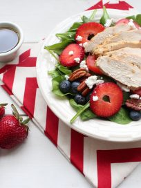 Grilled Chicken Spinach Strawberry Ricotta Salad