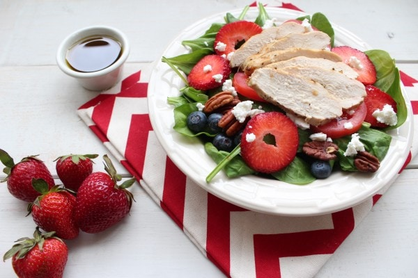 Grilled Chicken Strawberry Blueberry Summer Salad